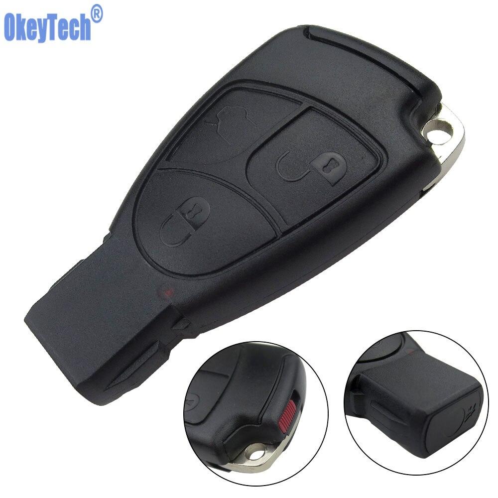 Чехол для смарт-ключей OkeyTech, для Mercedes-Benz MB C, E ML, S, SL, SLK, CLK, AMG, мягкий, 3 кнопки, с крышкой аккумулятора и лезвием