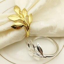 Porte-serviettes en métal doré et argent 6 pièces/lot   Feuilles dautomne, anneaux de serviette, bracelet de baptême, décoration de fête prénatale de mariage