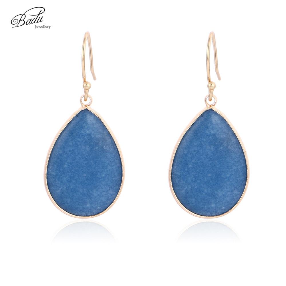 Badu Blue Natural Stone Oval Drop Earring Women Vintage Golden Copper Hook Dangle Earrings Faceted Stone Drop Shipping