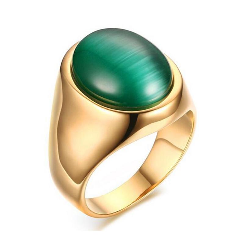 Мужское кольцо с большим камнем, обручальное кольцо с зеленым опалом, позолоченное титановое кольцо, качественные ювелирные изделия из нержавеющей стали, оптовая продажа