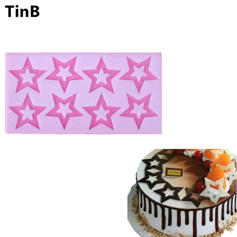 Nuevo hueco cinco forma de estrella molde de pastel de silicona 3D chocolate molde de la hornada de la cocina herramienta de decoración Sugarcraft pastel plantilla