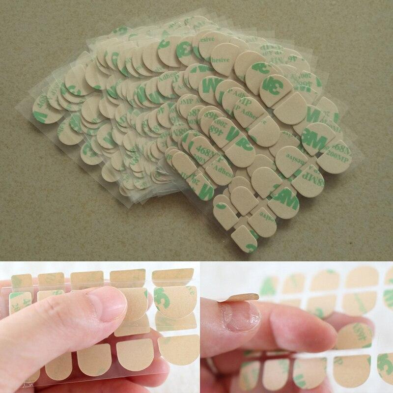 10 folha/lote prego adesivo falso ongles avec colle transparente dupla face fitas adesivas adesivos arte unha falsa cola