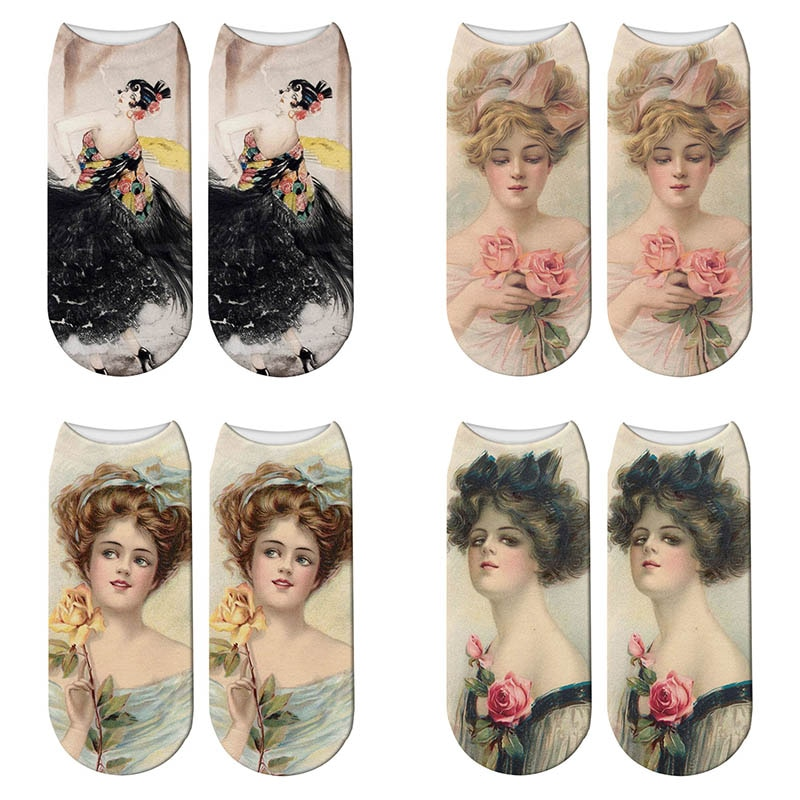 New 3D Printed Woman Portrait Socks Summer Women World Famous Painting Short Ankle Socks Chaussette Femme Calcetines Mujer недорого