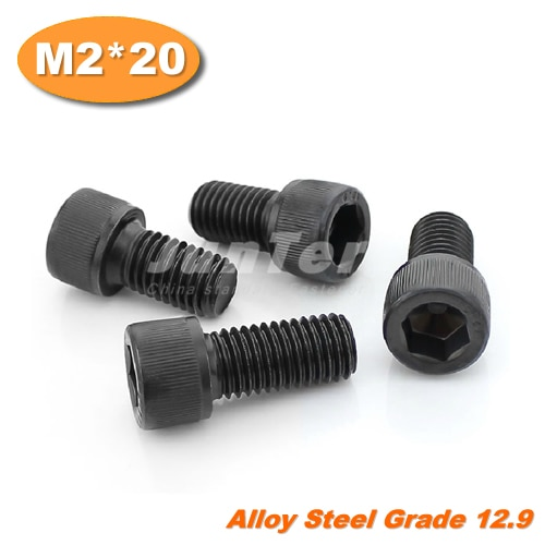 1000pcs/lot DIN912 M2*20 Grade12.9 Alloy Steel Hex Socket Head Cap Screw