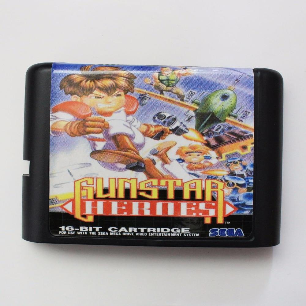 Gunstar héroes 16 poco SEGA tarjeta de juego MD para Sega Mega Drive para Génesis