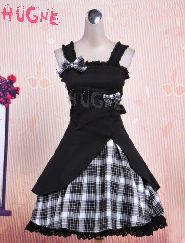 Vestido gótico Lolita JSK negro Gingham Applique Lolita Jumper falda