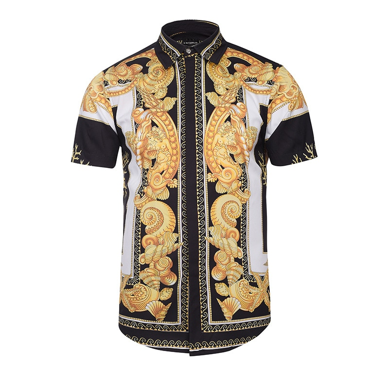 Drop shipping T-shirt New Fashion Brand T-shirts Men/Women Hooded Tshirt Print Golden Flowers short Sleeve Tee shirt