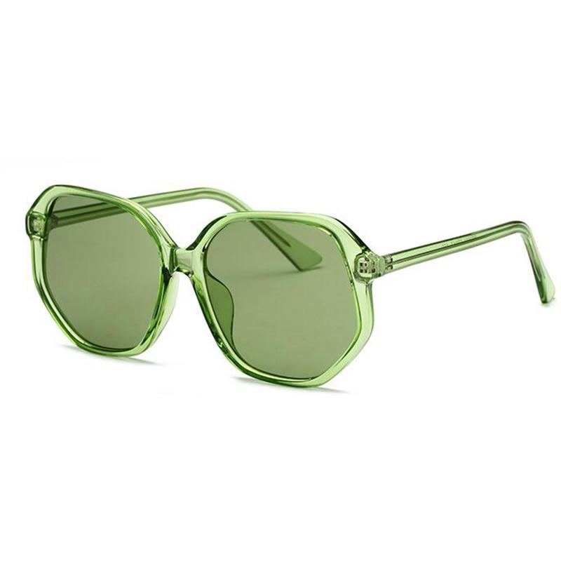 Gafas de sol de diseño de cristales verdes, marca de lujo para mujer, gafas de sol con montura transparente 2018, gafas de sol redondas de colores para mujer para verano