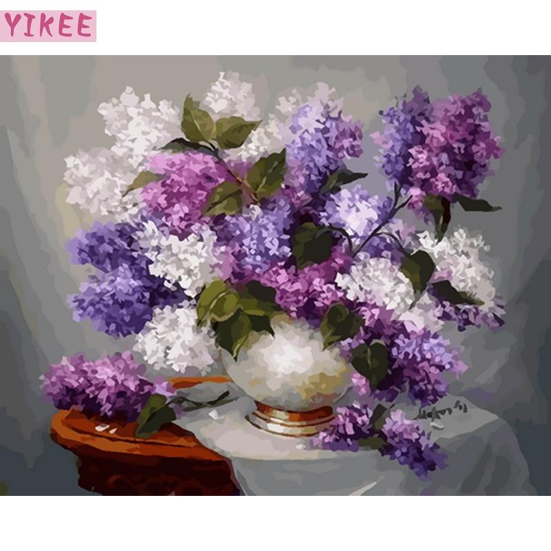 DIY handmade wall decorative canvas painting by numbers lavenders,painting by numbers flowers in vase as a birthday gift