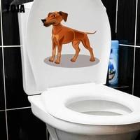 YOJA-autocollant mural joyeux Dog   Etiquette  22 8 21 9CM  decoration de salon maison  toilettes  CM  mode creative