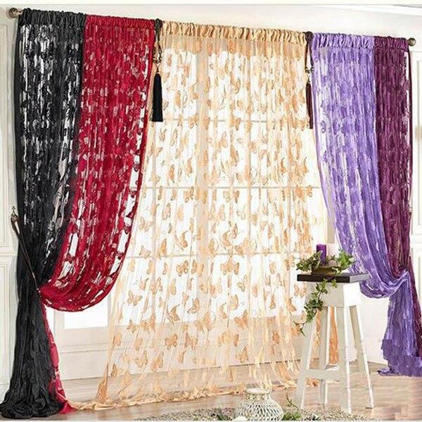 11 colores 1*2M mariposa cortina para puerta con cadena de borlas moda ventana habitación divisor