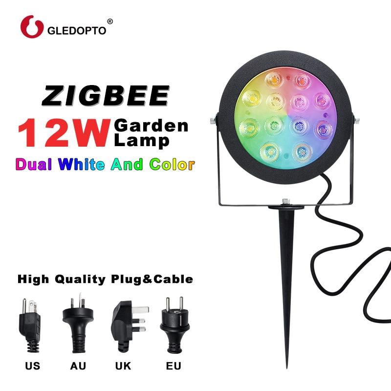 GLEDOPTO – lampe d'extérieur Zigbee 12W RGBCCT, lumière blanche chaude froide, fonctionne avec télécommande Alexa Echo Plus, Smartthings Tuya