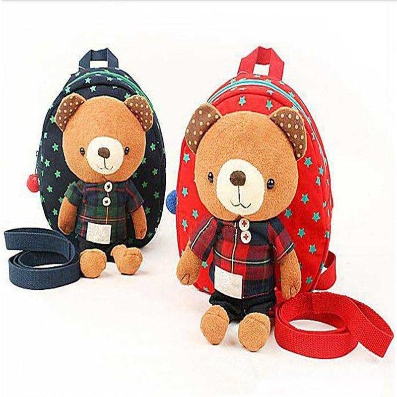 Mochila de juguetes de felpa con arnés de oso de 2 colores con correa de seguridad arnés 3 en 1
