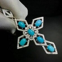 Colgante de Cruz Azul turquesa natural, colgante de piedras preciosas naturales S925, colgante de plata elegante para mujer, regalo de la suerte, joyería fina