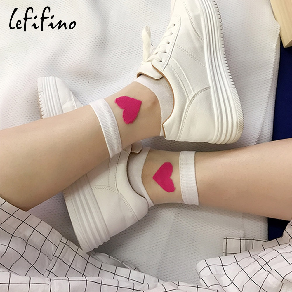 Verano lindo amor transparente mujeres calcetines cómodos Sexy corazón patrón parte inferior de algodón moda Calcetines blanco suave calcetines Ne74230