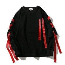 2019 Muti Ribbons O Neck Pullover Hip Hop Sweatshirts Streetwear Fashion Outwear Drop Shipping LBZ46