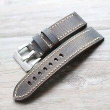 20 мм 22 мм 24 мм 26 мм Ретро коричневый винтажный итальянский ремешок для часов из телячьей кожи для PAM PAM111 PAM441/Panerai Pilot