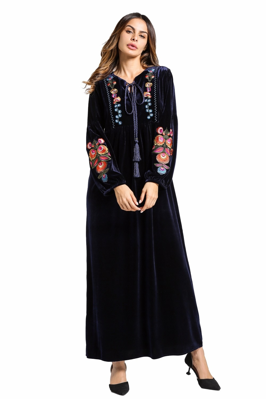 Vestido musulmán de terciopelo con mangas largas bordado Dubai maxi abaya jalabiya ropa para mujeres islámicas kaftan marroquí