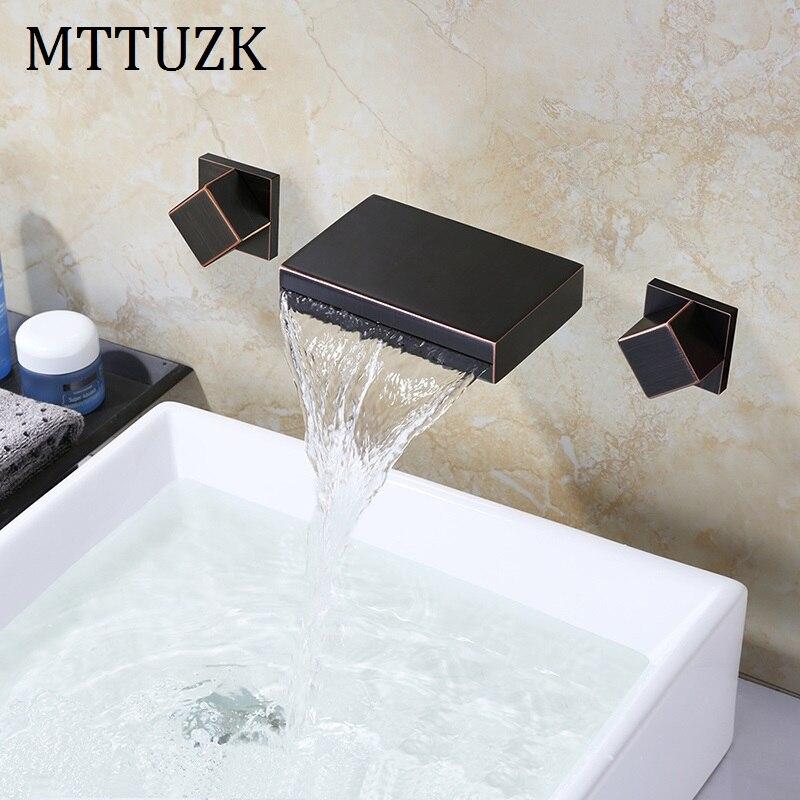 Grifo de bañera MTTUZK, grifo de ducha de cascada, grifo de mezclador de baño, grifo de lavabo montado en la pared con botones dobles de bronce, mezclador frío y caliente