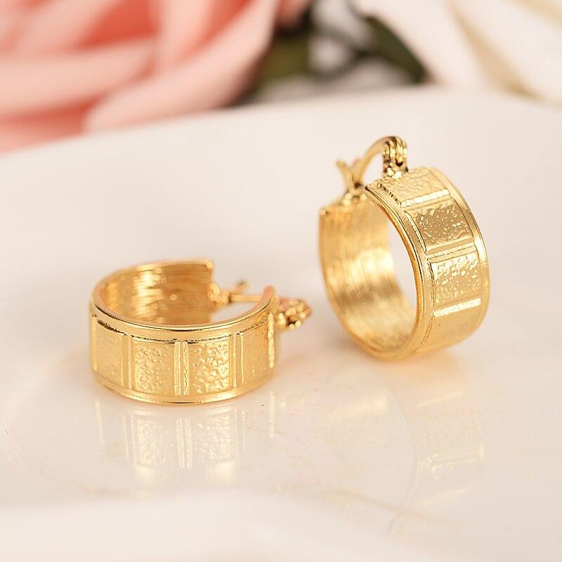 24k gold  Round Circles Huggies Hoop Earrings Gold Jewellery Formen  Kids Children Aros women jewelry african Christmas  gift