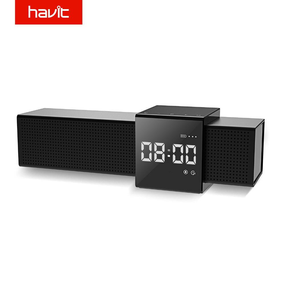 Havit portátil bluetooth alto-falante 3d estéreo de som sem fio altifalante player de áudio para o telefone com exibição de tempo relógio alarme m28