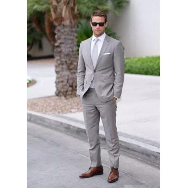 Trajes de boda para hombre gris claro estilo hecho a medida trajes formales de negocios novio esmoquin trajes de hombre (chaqueta + Pantalones) z620