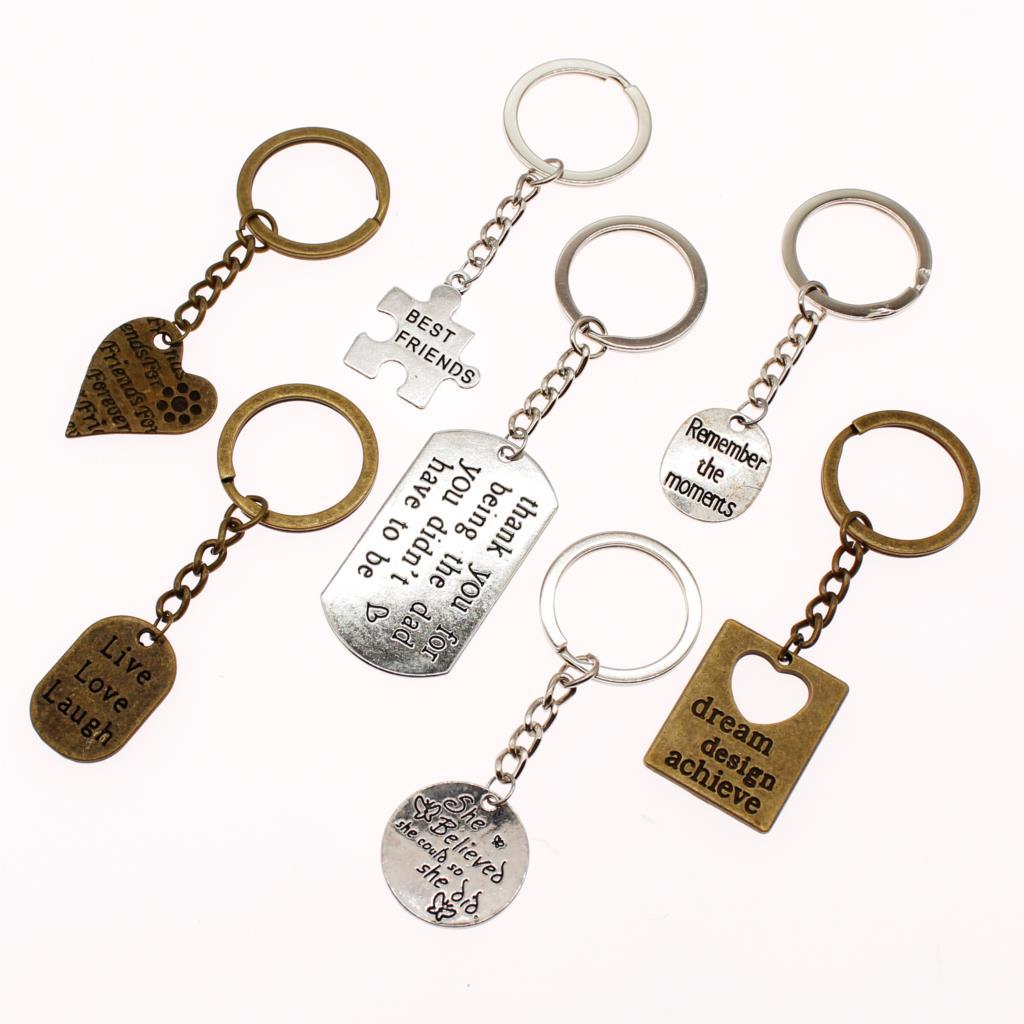 New Fashion Heart Tag Key Keychains Text Tag Car Key Chain Accessories Keychain On A Bag Handmade Souvenir Teachers Gay Gifts
