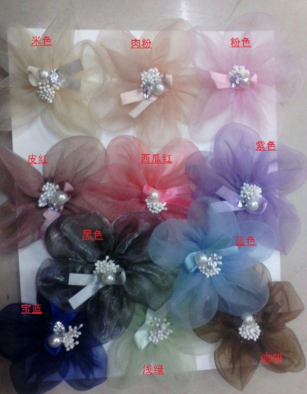 (200 pieces/lot) Corsage ribbon flower 12cm sheer flower hair accessory decoration flower
