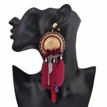 Grande plume à la main frange gland longues boucles doreilles pour les femmes Boho gitane nœud papillon boucle doreille bijoux de fête cadeau Brincos