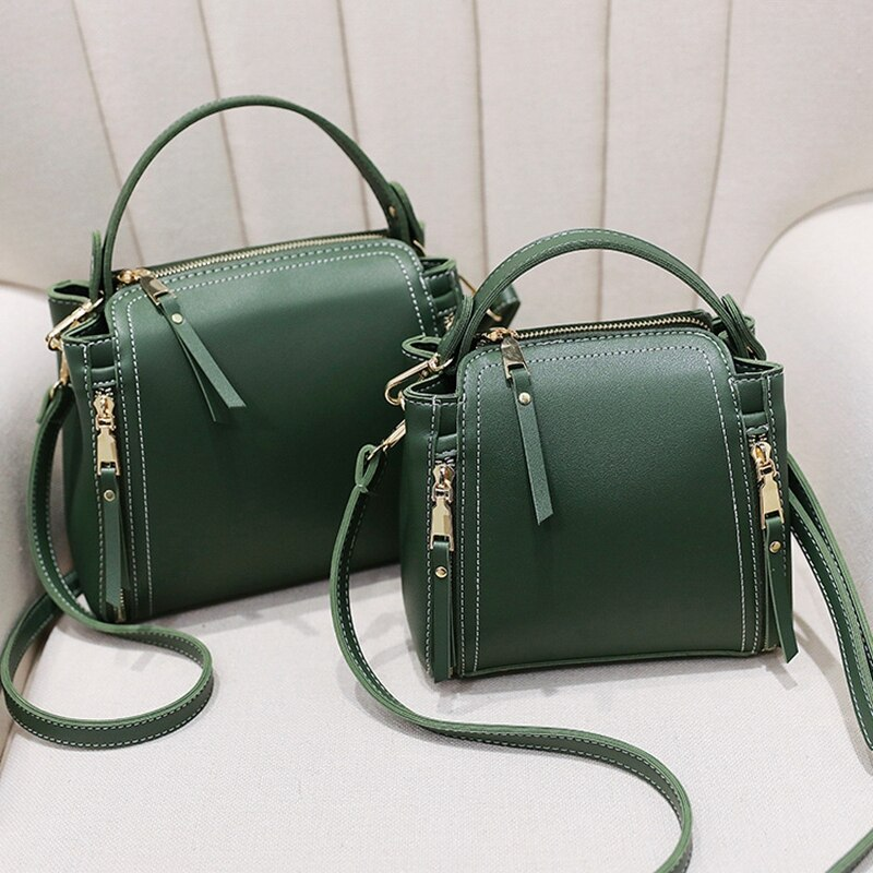 PU Leather Small Mini Bucket Bag Women Messenger Bags 2018 Fashion Designer Crossbody Bags Green Shoulder Bags Female Korean