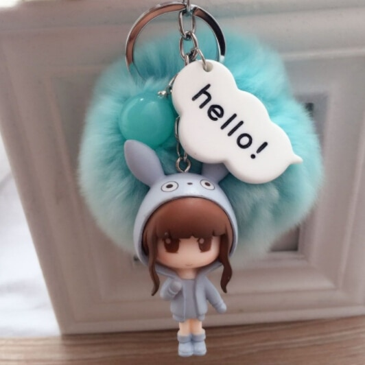 New Design 2017 Cute Girl 8CM Real Rabbit Fur Ball Pom Pom Key Chain Key Ring for Bag Car Key Hanger Decoration