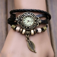 Irisshine femme montre dame fille femmes Bracelet Vintage armure enveloppement Quartz cuir feuille perles montres en gros #10