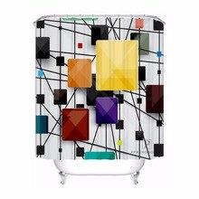 Custom Dynamic Line Circle Bath Curtain Bathroom Mildewproof Waterproof Polyester Shower Curtain#180417-04-99
