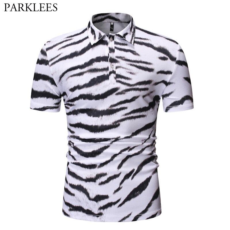 Camiseta Polo con estampado de rayas blancas Para Hombre, novedad de verano 2019, Polo de manga corta entallado Para Hombre, Polos transpirables informales de marca Para Hombre