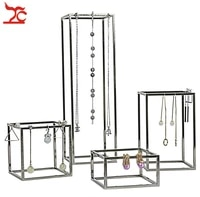 4pcslot stainless steel jewelry display holder store window domestic necklace chain earring jewelry organizer holder stand rack