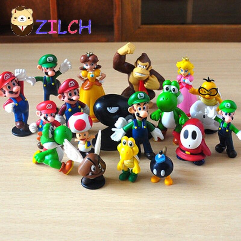 """18 unids/lote de Mini figuras bonitas 3,5 cm-6 cm 1 """"-2,5"""" 2,5 pulgadas 2,5 """"PVC Super Mario Bros figurita de acción muñeca de juguete para niños"""