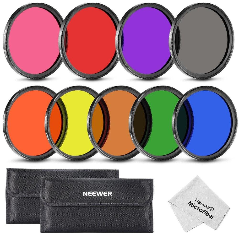 Neewer 9 шт. 58 мм полный полноцветный набор фильтров для объектива камеры с 58 мм резьбой фильтра для Canon/Nikon/Pentax/Olympus