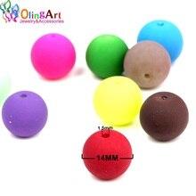 OlingArt perles de verre en caoutchouc de haute qualité 12 pièces 14mm couleur bonbon néon mat perles en vrac fabrication de bijoux à la main bracelet bricolage