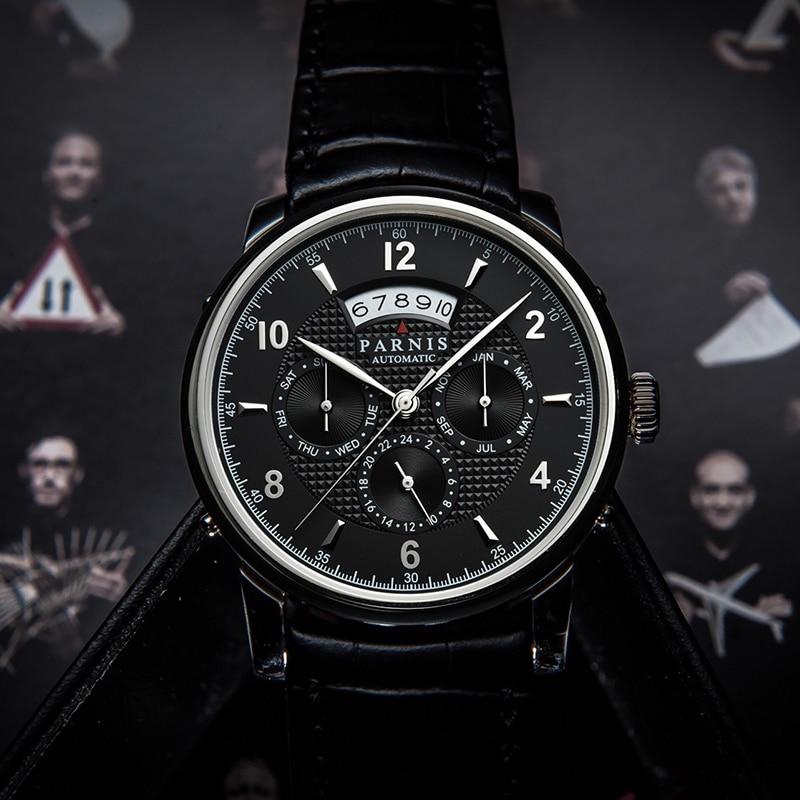 Parnis Casual 43mm esfera azul relojes mecánicos para hombre Miyota 9100 fecha automática Luna fase automática reloj de pulsera para hombre 2020