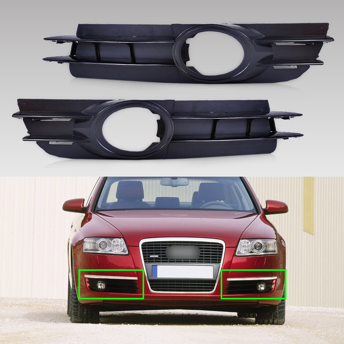 DWCX 4F0807681A / 4F0807682A 2PCS Front Left + Right Fog Light Lamp Grill Grille For Audi A6 / A6 Quattro C6 2005 2006 2007 2008