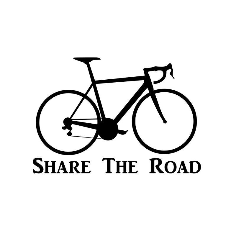 17.8 CENTIMETRI * 12.2 CENTIMETRI Bicicletta Sticker Vita Su 2 Ruote Della Bici Condividere La Strada Car Styling Autoadesivo Auto Divertente decorazione Nero/Nastro C8-1377