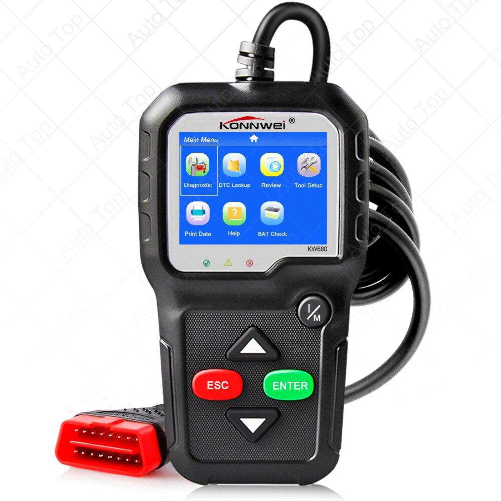 Kw680 função completa da ferramenta de diagnóstico do carro obd2 multi-idioma obd 2 leitor autoscanner automotivo scanner automotivo automotivo