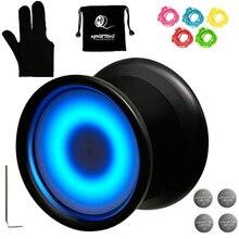 Y02-Aurora Magicyoyo iluminado Yoyo profesional no sensible con luces Led con guante, pistolera Yoyo, 5 cuerdas, luz Led azul