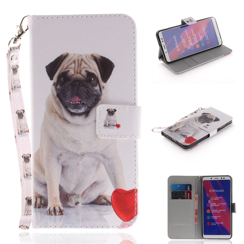 Flip Wallet Case For Xiaomi Redmi Note 5/Note 5 Pro Cases Coque Animal Wolf Tiger Lion Painted PU Le