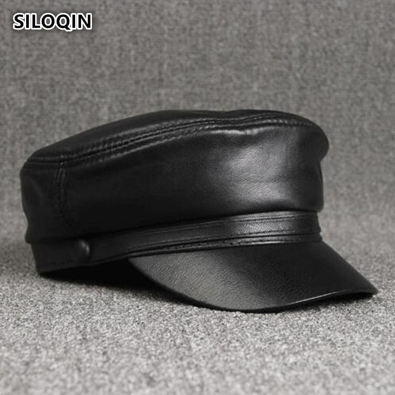 SILOQIN Autumn Winter Men's Genuine Leather Cap Simple Elegant Sheepskin Military Hats For Women New Bone Unisex Brand Visor Hat