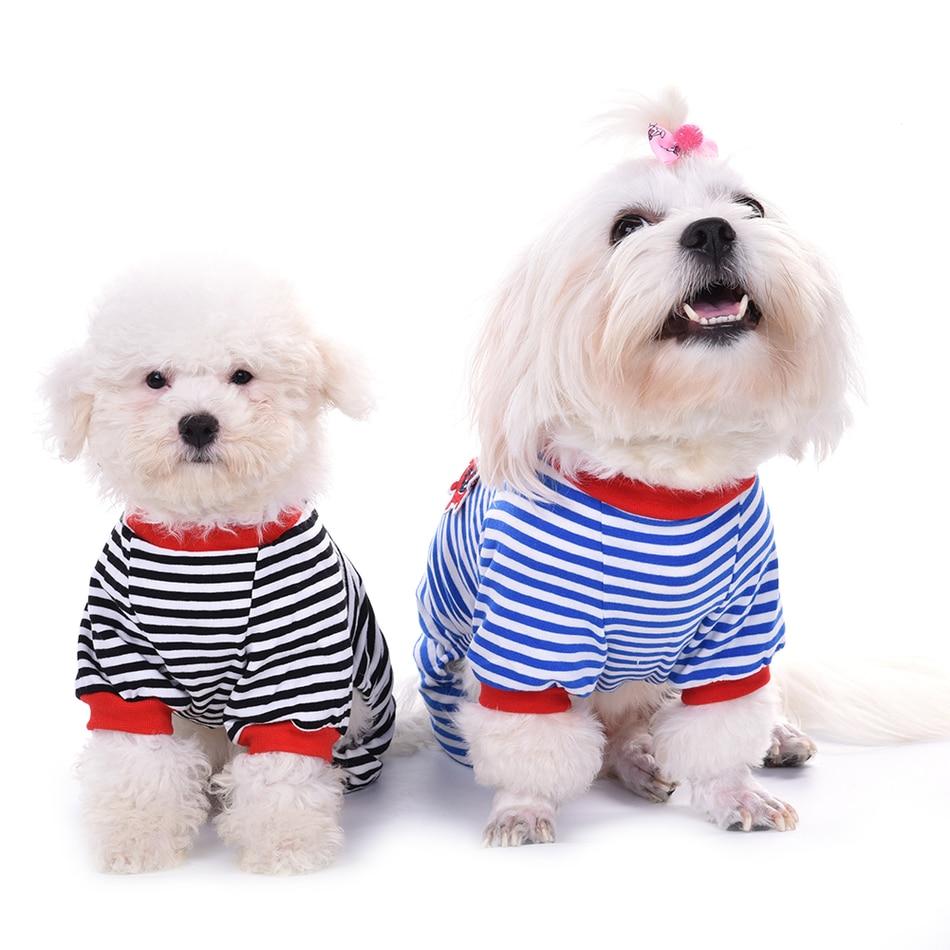 Moda ropa a rayas pijamas de algodón Mono para mascota perro cachorro suave acogedora y cálida monos Romper ropa para dormir