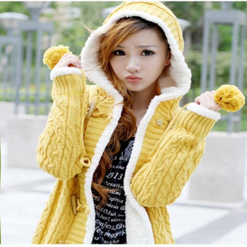 Autumn Winter Clothing Sweater Cardigan Coat Female Korean Loose Medium Long Hooded Plus Velvet Thick Warm Women Knit Jacket