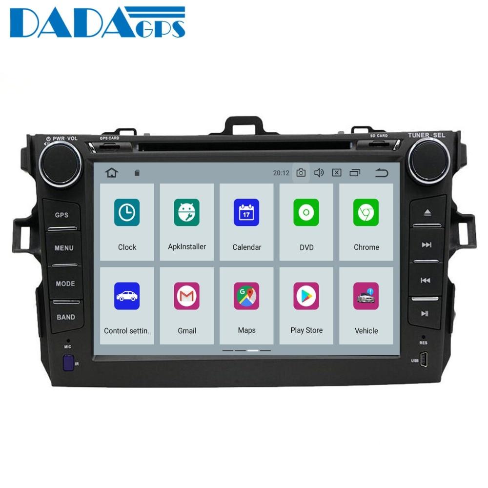 "DADA 2 din TDA7851 Android 9,0 reproductor de dvd del coche gps para Toyota Corolla 2007, 2008, 2009, 2010, 2011, 2012 8 ""auto radio estéreo usb PX5"