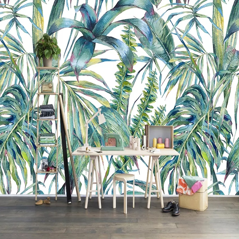3D обои современные расписанные вручную тропические листья фото настенные фрески Гостиная ТВ диван спальня домашний декоративный фон настенная живопись