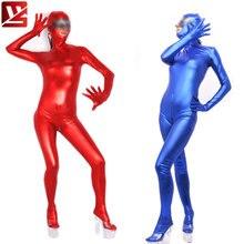 MEISE Women Cosplay Full Body PU Faux Leather Shiny Leotard Bodysuit Zipper Open Crotch Elastic Bodysuit Erotic Lingerie Plus